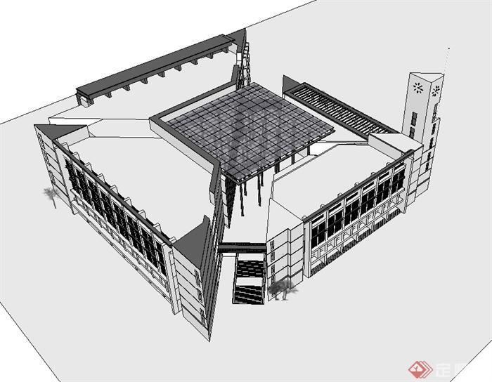 某现代风格福州大学图书馆建筑楼设计su模型(3)图片