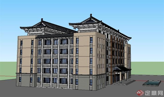 中式风格6层教学楼建筑设计su模型(2)