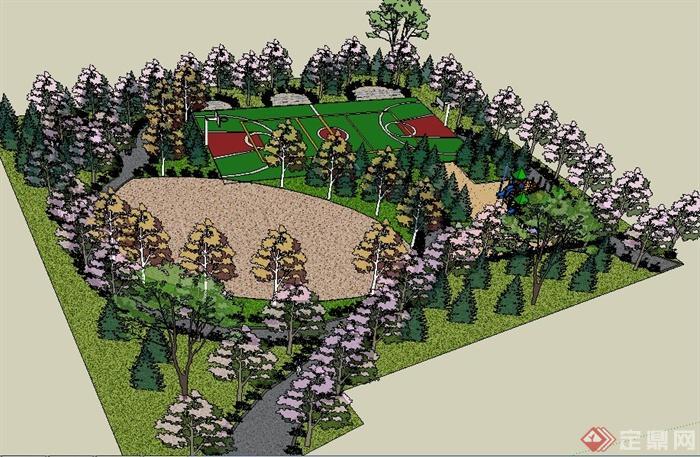 现代小型休闲公园景观设计su模型(2)