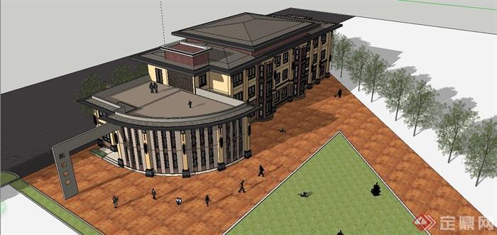 某欧式风格精致美观幼儿园建筑设计su模型[原创]