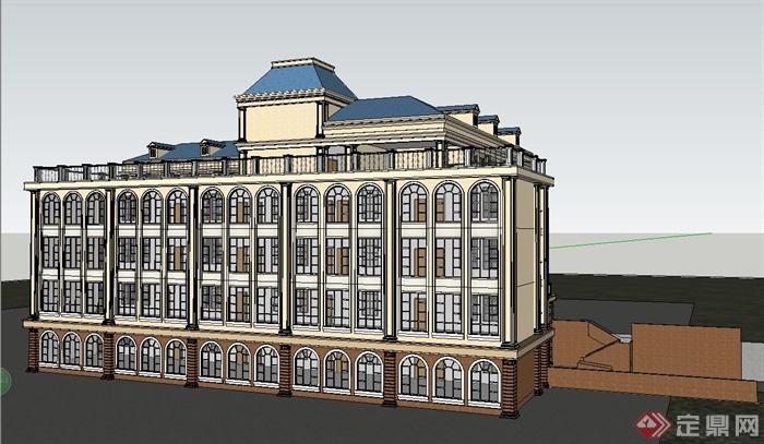 某精致欧式风格学校教学楼建筑设计su模型(5)图片