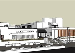 学生作业——简约中式博物馆建筑设计SU(草图大师)模型