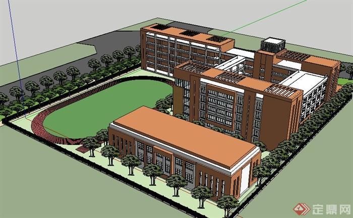现代学校五层教学楼建筑及操场设计su模型[原创]图片