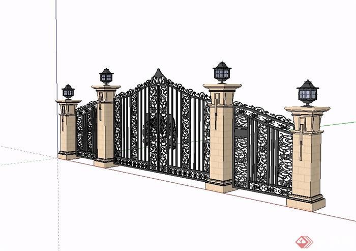 欧式风格铁艺小区大门设计su模型(3)