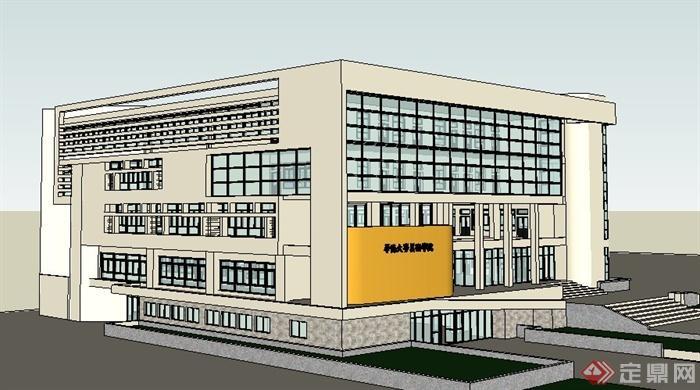 现代四层学校图书馆建筑设计su模型(3)