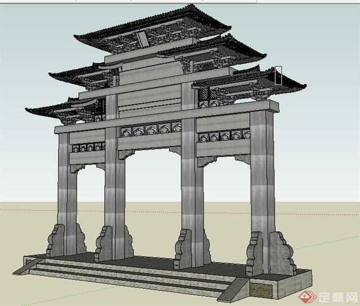 新中式牌坊牌楼设计su模型[原创]