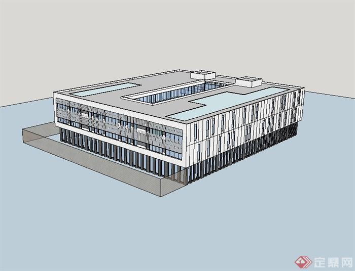 某现代多层工业厂房建筑楼设计su模型[原创]