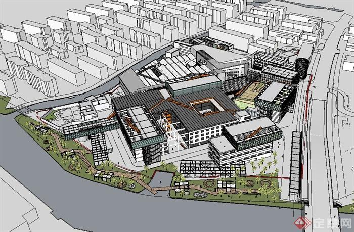 现代产业园区规划设计su模型
