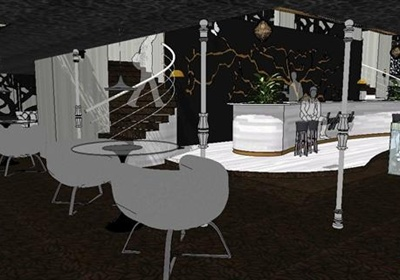 某现代风格精致咖啡厅室内装饰设计SU模型