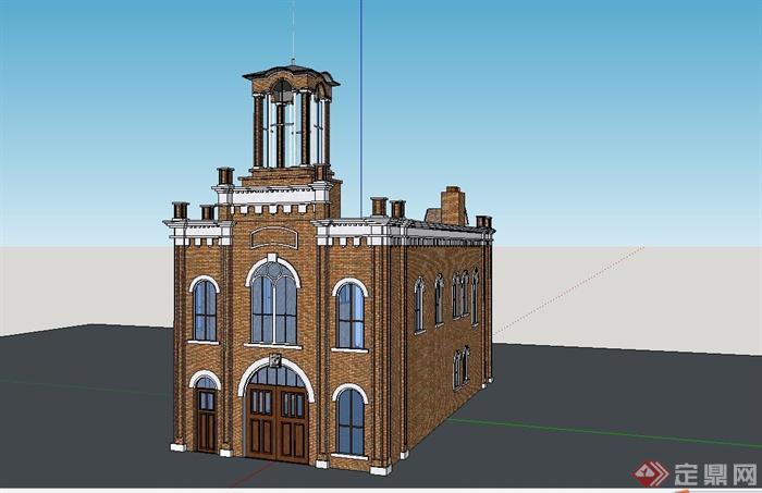 某欧式风格小型办公楼建筑设计su模型[原创]