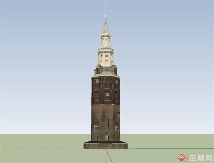 某欧式风格独特钟塔建筑设计su模型[原创]