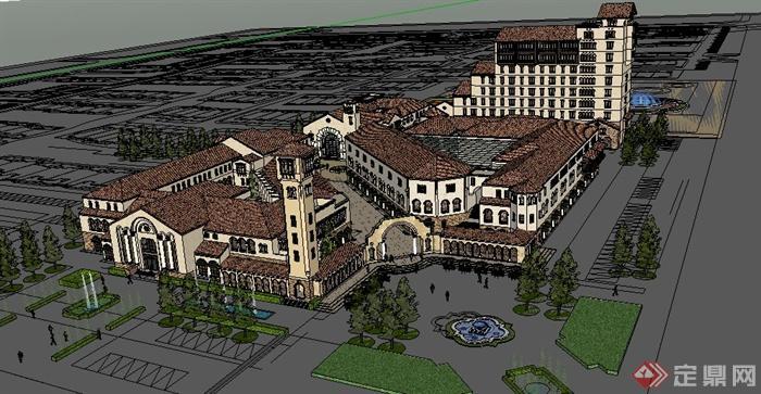 地中海风格商业区商业街建筑设计su模型图片
