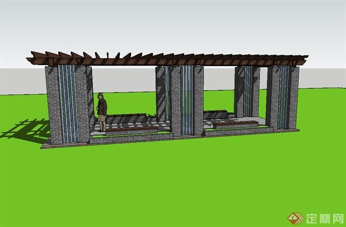 现代中式风格青砖廊架设计su模型(2)