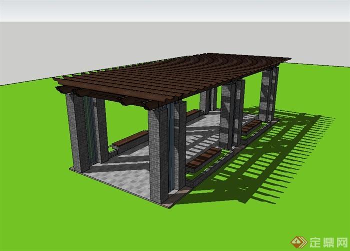 现代中式风格青砖廊架设计su模型(3)