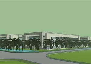 现代工业园厂房建筑设计SU(草图大师)模型