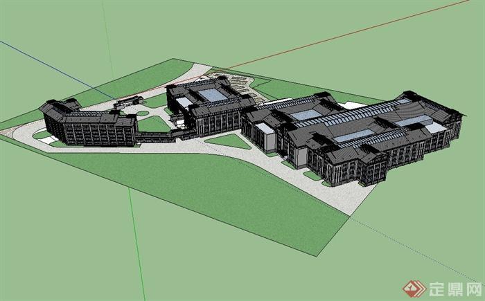 新中式工业园区建筑设计su模型[原创]