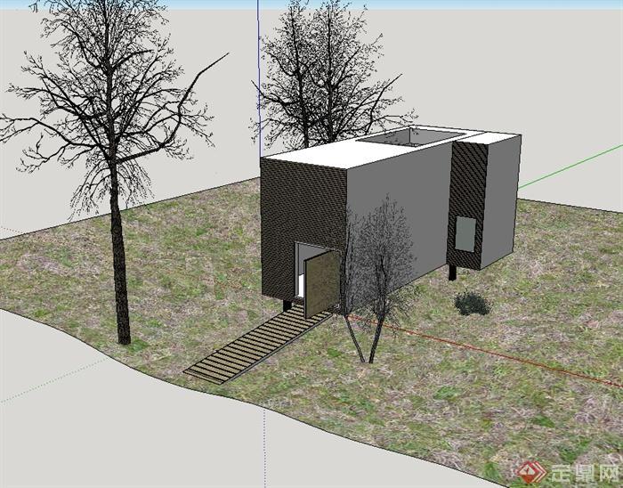 某现代风格木房子设计su模型(1)
