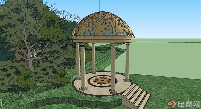 某欧式公园入口景观设计su模型[原创]