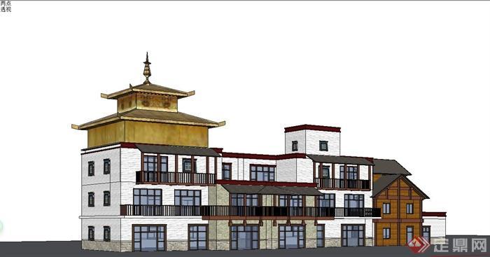 某现代中式风格仿古多层商业楼建筑设计su模型(1)