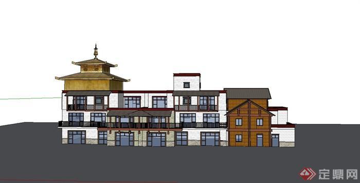 某现代中式风格仿古多层商业楼建筑设计su模型(2)