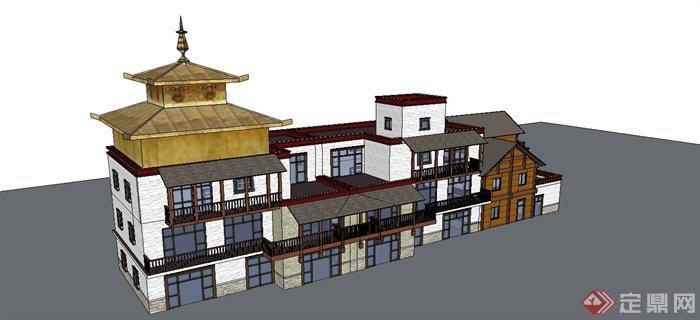某现代中式风格仿古多层商业楼建筑设计su模型(5)