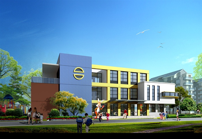 某欧式风格幼儿园建筑设计cad方案及效果图[原创]
