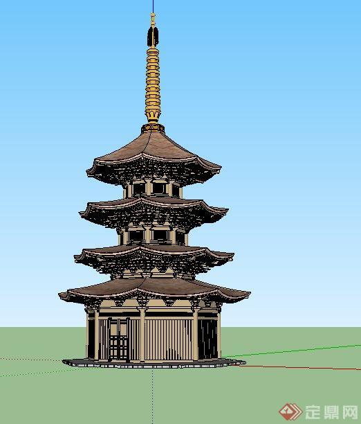 古典中式文化塔楼设计su模型(3)