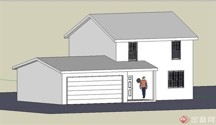 简约二层住宅小屋建筑su模型(2)