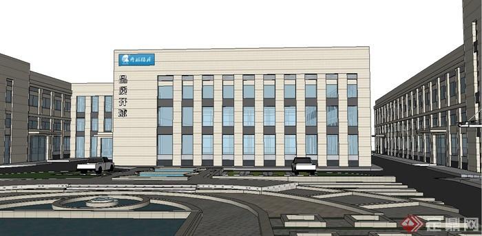 某现代风格厂区办公楼建筑设计su模型[原创]