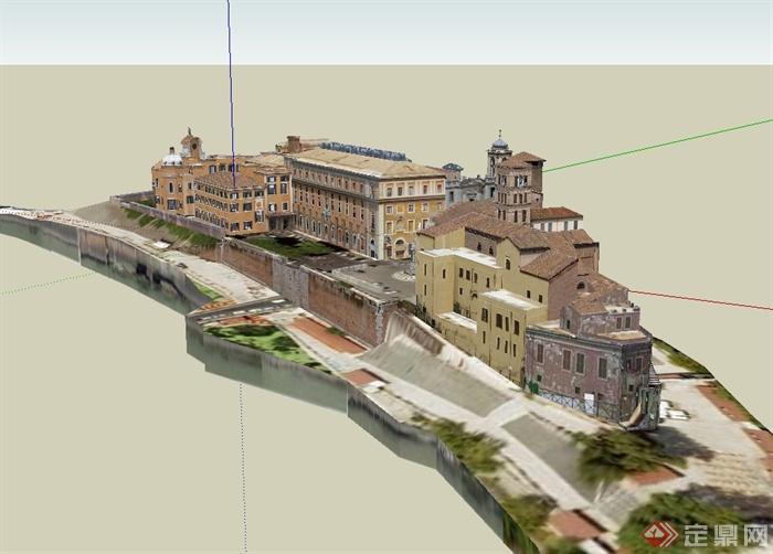 某欧式风格详细精致综合楼建筑楼设计su模型[原创]