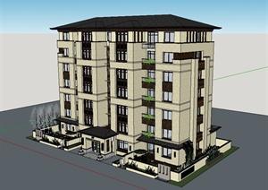 新中式多层住宅公寓楼建筑设计SU(草图大师)模型-现代中式SKP建