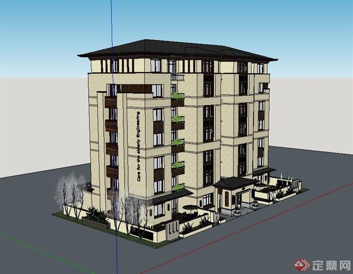 新中式多层住宅公寓楼建筑设计su模型(3)