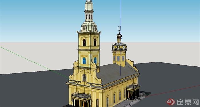 某简约欧式风格小型教堂建筑su模型设计[原创]