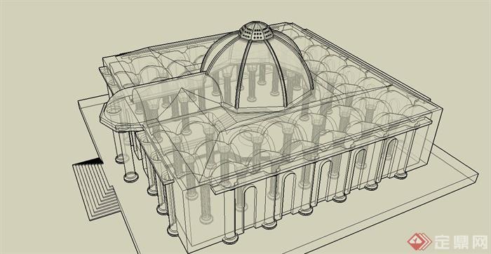 某欧式风格文化展览馆建筑结构设计su模型[原创]