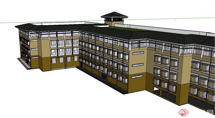 某现代中式风格厂房办公楼建筑设计su模型(4)