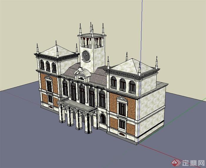 欧式办公楼正立面设计su模型[原创]