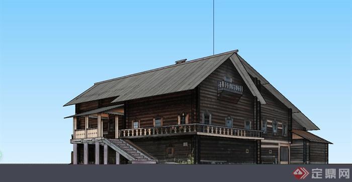 某现代中式风格木质别墅建筑设计su模型(1)