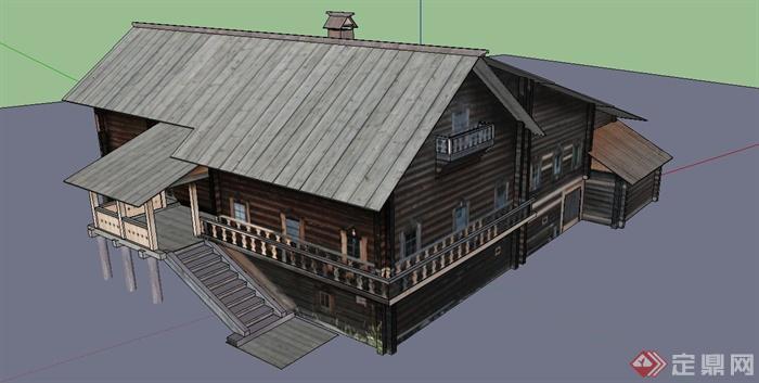 某现代中式风格木质别墅建筑设计su模型[原创]