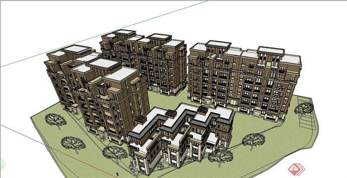 某简约欧式风格多层住宅小区建筑设计su模型[原创]