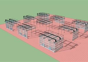 纹络温室建筑设计SU(草图大师)模型
