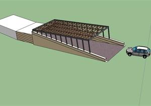 某现代风格车库入口设计SU(草图大师)模型