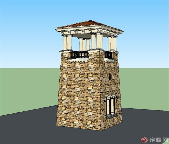某欧式风格塔楼建筑设计su模型(2)