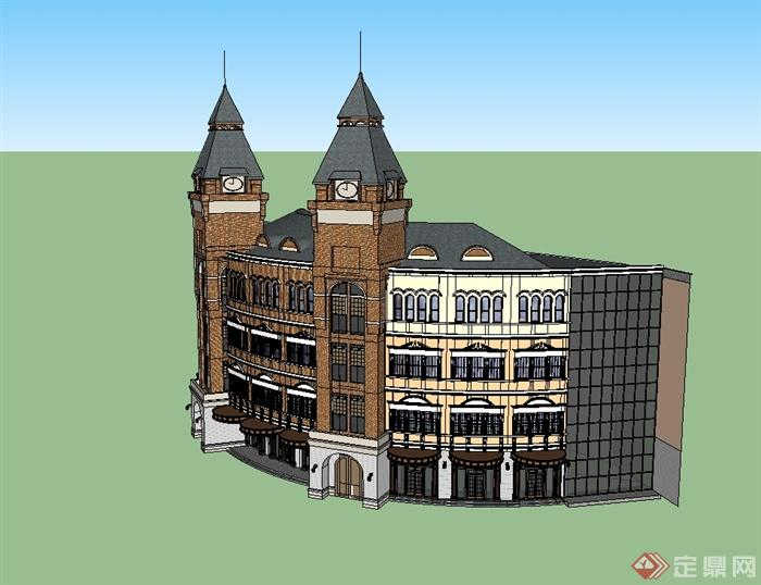 欧式商业办公楼设计su模型[原创]