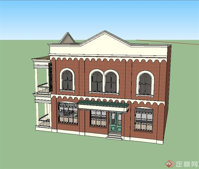 欧式风格别墅建筑楼设计su模型(2)