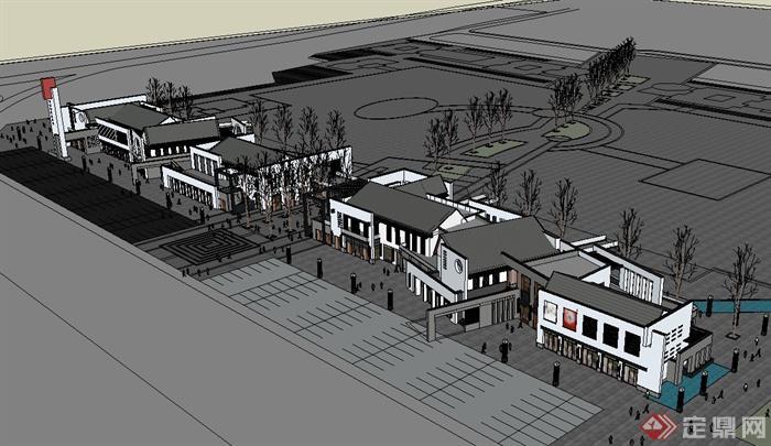某新中式商业街建筑su模型(1)图片