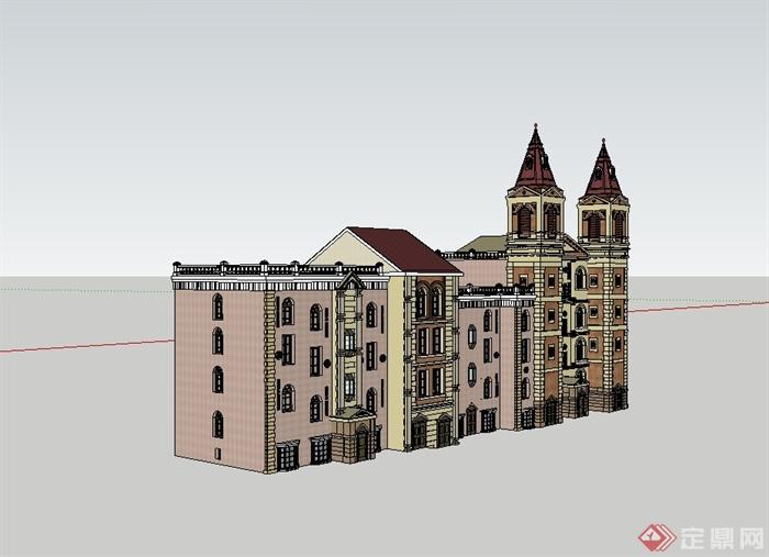 欧式风格旅馆酒店建筑设计su模型(3)