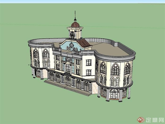 欧式风格三层办公楼建筑楼设计su模型(1)