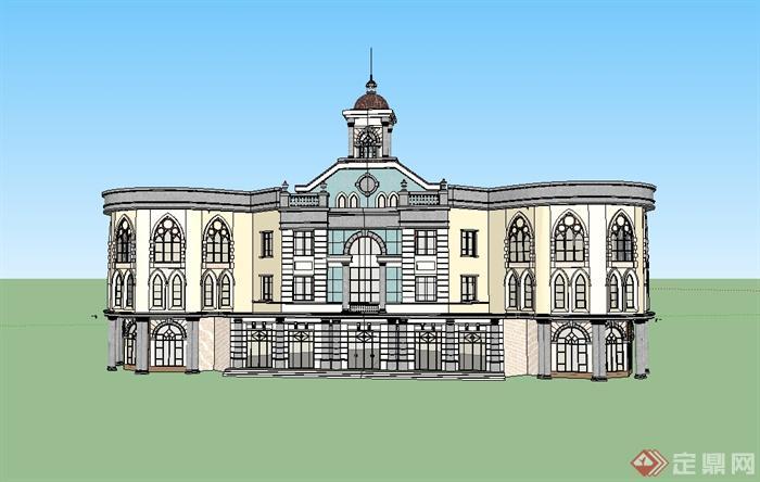 欧式风格三层办公楼建筑楼设计su模型[原创]