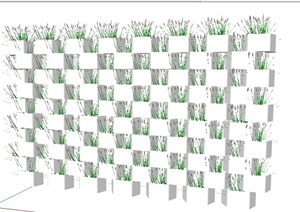 垂直绿化墙面种植池SU(草图大师)模型