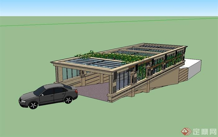 某新古典风格车库入口玻璃廊架设计su模型[原创]